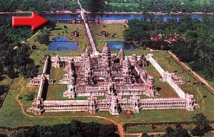 Aerial view of Angkor Wat looking west, with the West Gopura at the top of the photo.