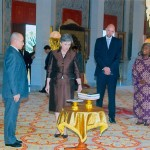 King Sihamoni of Cambodia receives official US gifts from US Ambassador Carol Rodley.