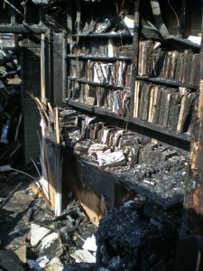 Davis's charred office that contained his original research papers and rarest books.