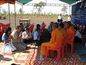 Kent and Sophaphan Davis at the opening ceremonies of Srei Devata Middle School in Kampong Thom, Cambodia.