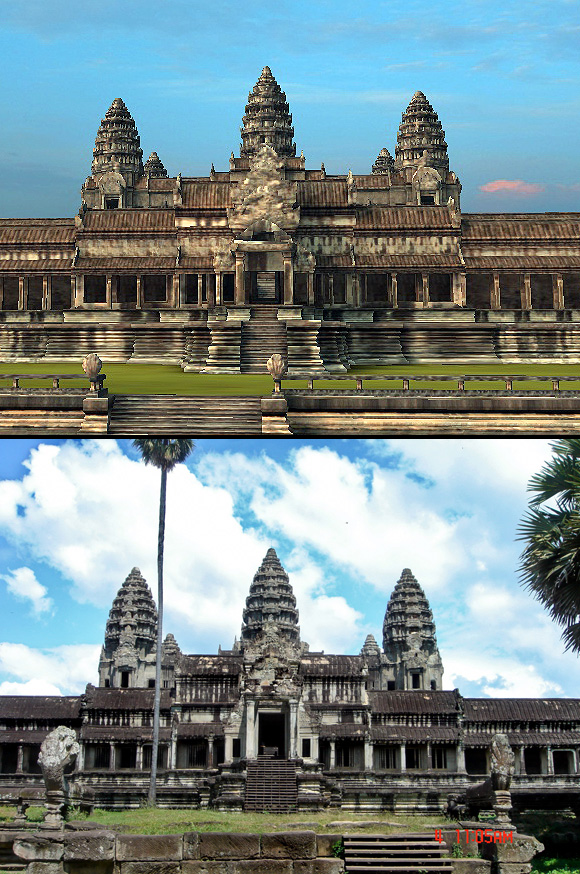 Angkor Wat-3D: This view greets you walking directly north from Angkor Wat's south gate.