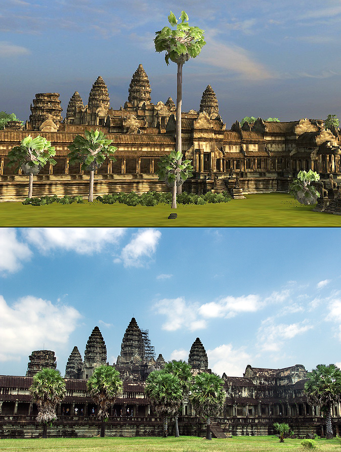 Angkor Wat 3D: This view of Angkor Wat is looking East just north of the Cruciform Platform.