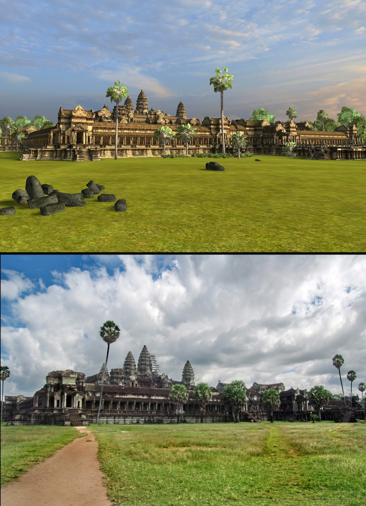 Angkor Wat 3D: View from the northwest, walking from the concession stands (I couldn't wait for them to invent the virtual ice cold Angkor beer. Sorry.))