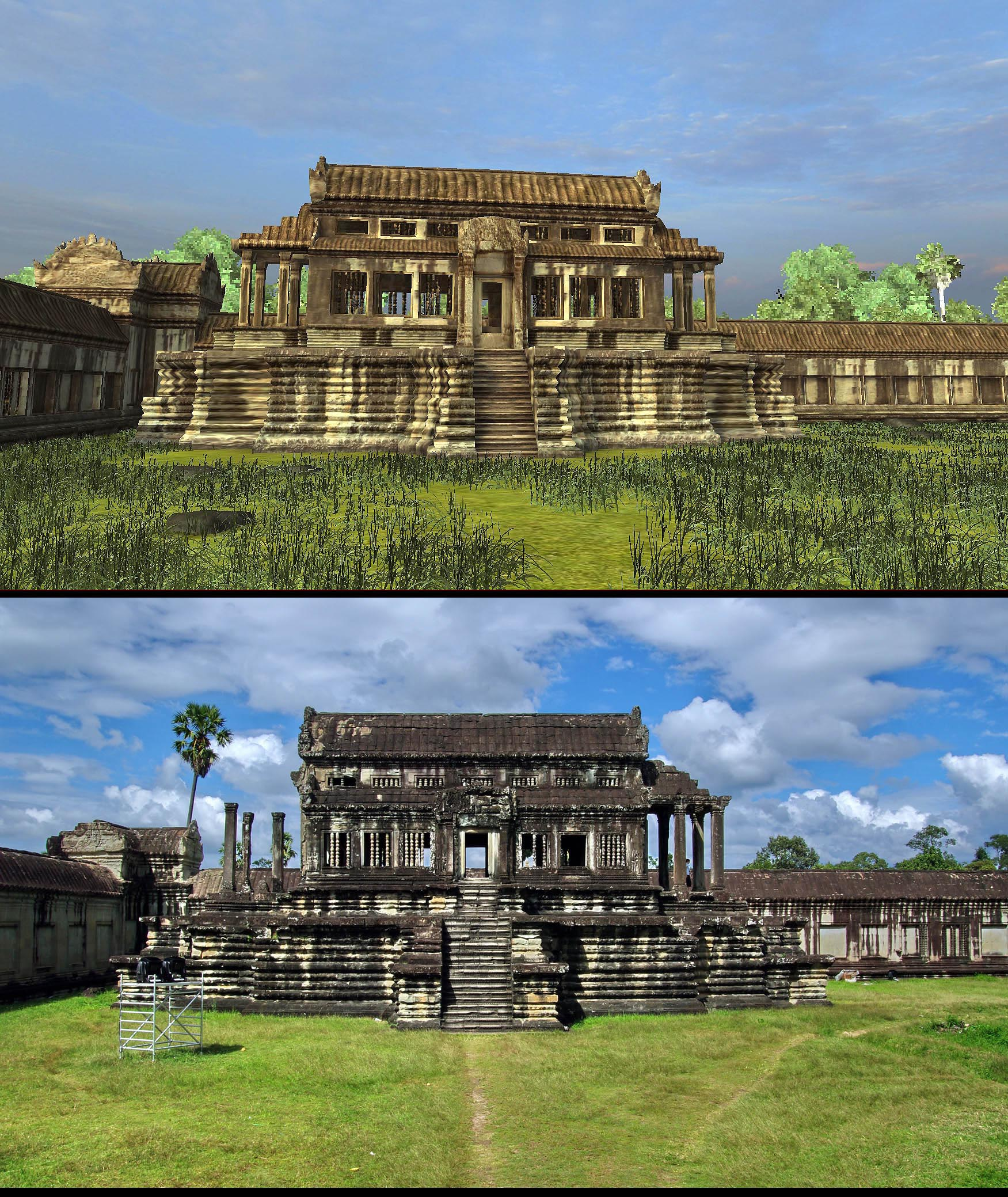 "Angkor Wat 3D: They began calling these structures ""libraries"" more than 100 years ago. No one knows what they really were. This structure is surrounded by 46 devata images."
