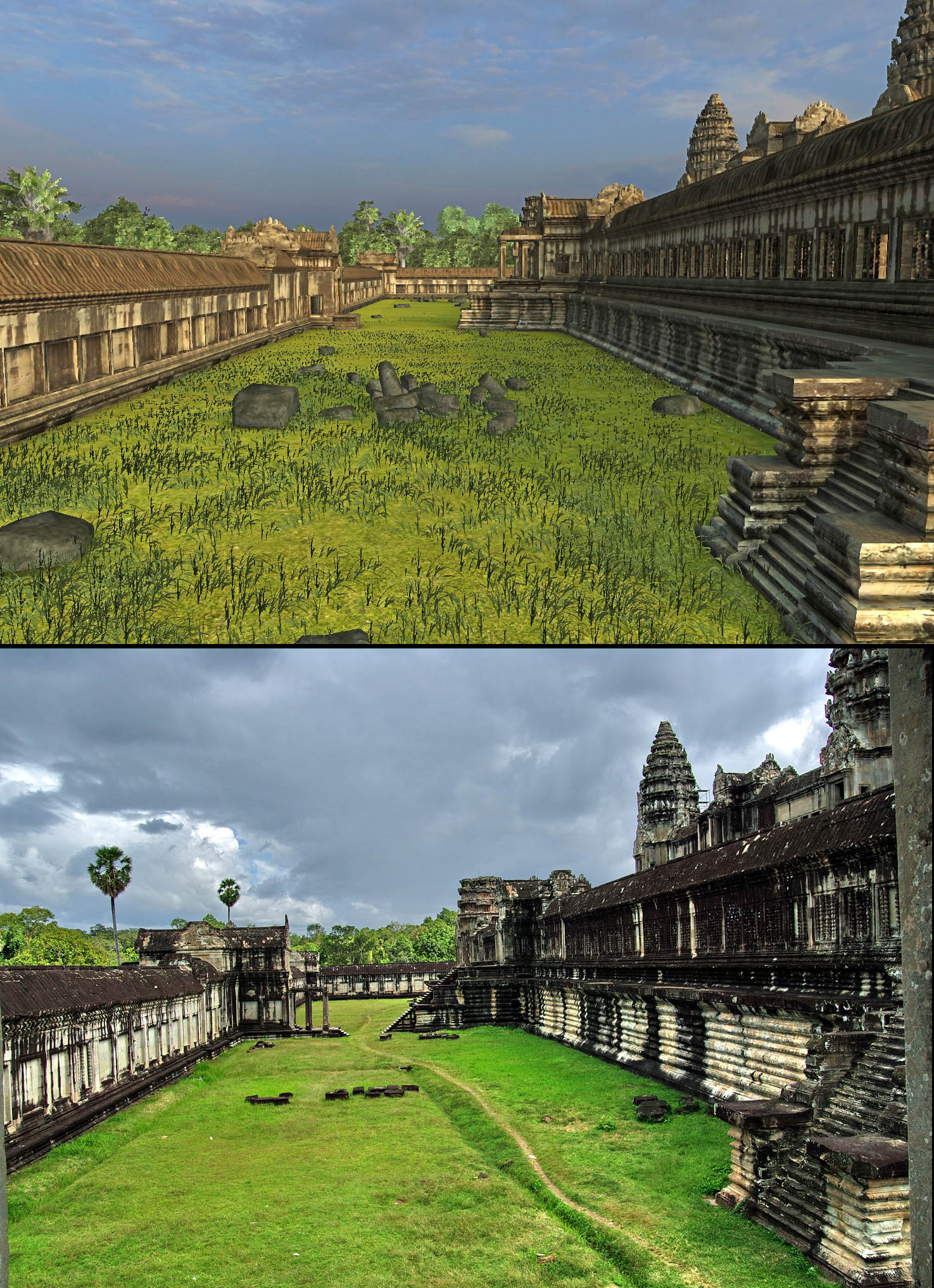 "Angkor Wat 3D: The view east from the platform of Angkor Wat's north ""library."""