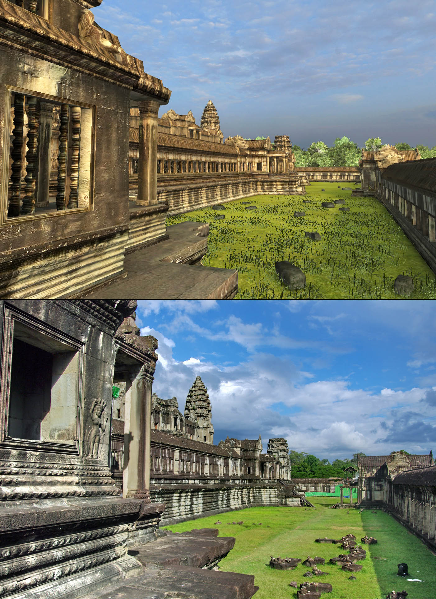 "Angkor Wat 3D: The temple of Angkor Wat is a study of balance in the universe. Therefore, there is also a south ""library"" and this is this view from its platform toward the east."