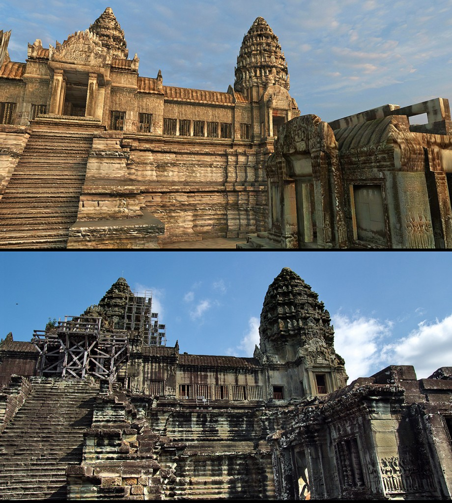 Angkor Wat 3D: Climbing up from the Cruciform Galleries, you arrive at the second level of Angkor Wat facing east with the stairs to the highest level in front of you.