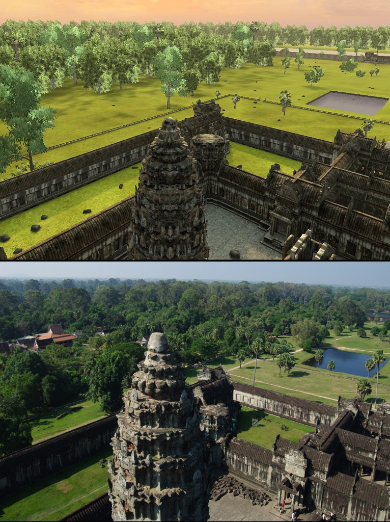 Angkor Wat 3D: From the central tower this is the view to the southwest. Vizerra did not include the Buddhist temple that was later built just outside the perimeter walls of Angkor Wat.