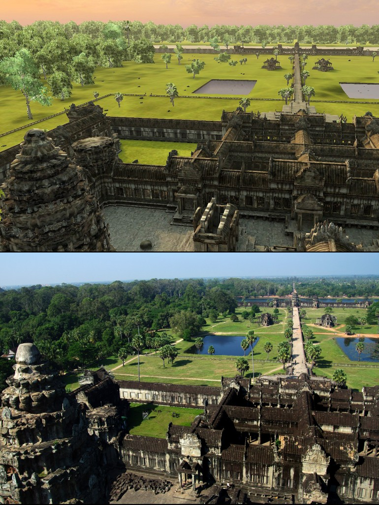Angkor Wat 3D: A spectacular view west-southwest from the top of the central tower at Angkor Wat.
