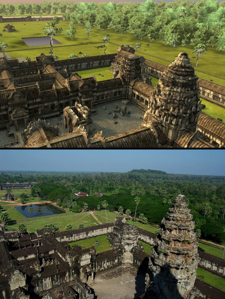Angkor Wat 3D: Northwest view from the top of Angkor Wat. Again, Vizerra did not recreate the modern Buddist temple or concession stands that now stand to the right of the reflecting pool.