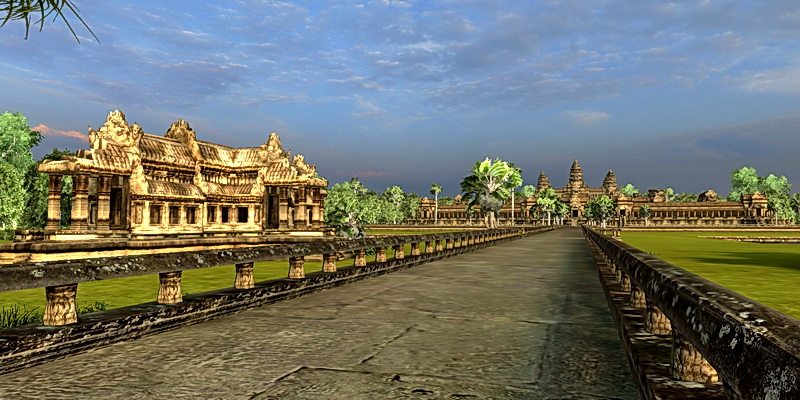 Looking west toward Angkor Wat on the elevated causeway.