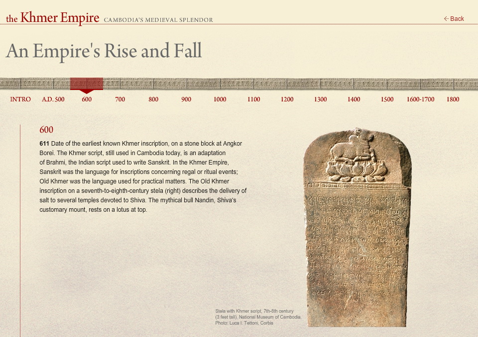 National Geographic Interactive Timeline of the Khmer Empire