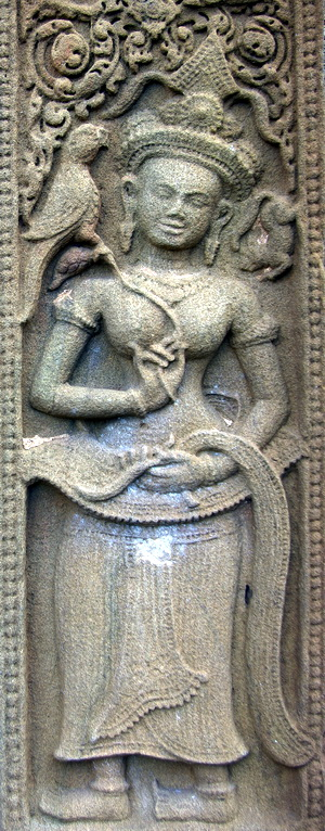Two Khmer Devata Goddesses in Sikhoraphum Thailand