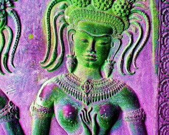 Colorful Images of Devata Goddesses or Apsaras at Angkor Wat