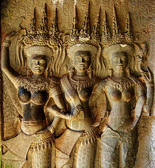Devata and Apsara Videos at Angkor Temples in Cambodia