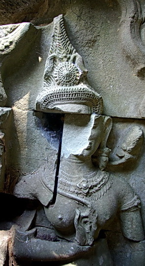 Heritage Watch protects Cambodian antiquities like this Devata (sacred female image) defaced at Beng Melea - 2008.