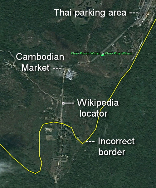 Google map mistake at Preah Vihear temple shows an inaccurate rendering of the border cutting Cambodia's sacred temple in half.