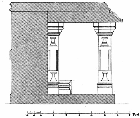 Cross section of the yogini temple showing how the alcoves are build.