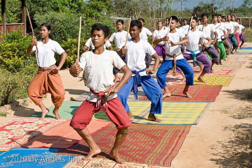 Dancers of Banteay Srey: Girls and boys train in folk dance and traditional music at the NKFC school Photo © Copyright Anders Jiras.