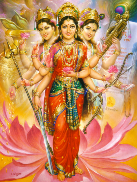 Lakshmi (wealth/material fulfillment), Parvati (Power/love/spiritual fulfillment), and Saraswati (learning and arts/cultural fulfillment) joined in a single manifestation of Devi. Painting by V.V. Sagar.