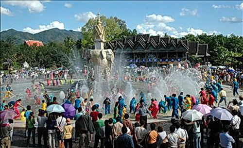 Around a central square featuring an elephant fountain the Xishuanbanna water festival is as wet as in Cambodia, Thailand and Laos. These festivals may relate to Khmer families discovered living in Southern China.