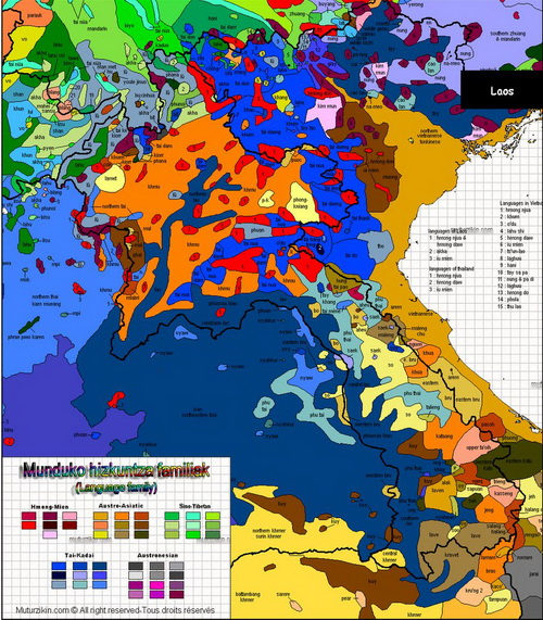 Linguistic map of Southeast Asia provides clues to Khmer families discovered living in Southern China. For details please visit Muturzikin.com.