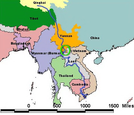 Khmer families discovered living in Southern China in the province of Xishuanbanna (known as Sipsong Panna in the Thai-Lao dialects) is a melting pot for the ancient cultures of China and Southeast Asia. Note the Mekong River, the key artery that connects the entire region.