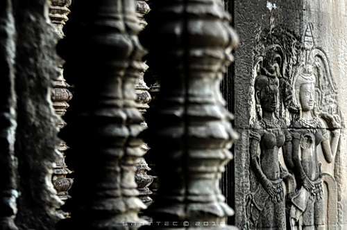 Angkor Wat enshrines more than 2,000 portrait carvings of ancient Khmer women. Their identity and meaning remain a mystery.  © Copyright Gary Ng.