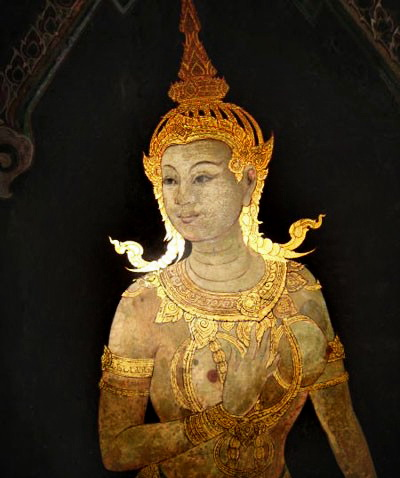 The mystique of Asian women: Apsaras are youthful, beautiful female spirits in Hindu and Buddhist mythology who are associated with water, mist, rain and clouds. They are renowned for their skill as dancers, and temptresses, in the heavenly court of the god Indra.