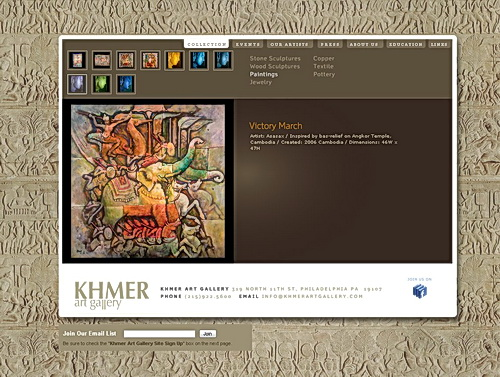 The Khmer Art Gallery in Philadelphia features a variety of traditional and contemporary art from Cambodia.