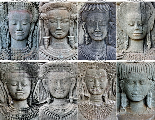 Angkor Wat women: The initial pattern recognition algorithm defined eight distinct facial types.