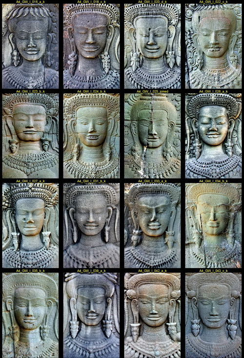 Angkor Wat women: Devata faces from the inside wall of the West Gopura.