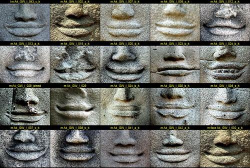 Angkor Wat women: devata mouth comparison photos.