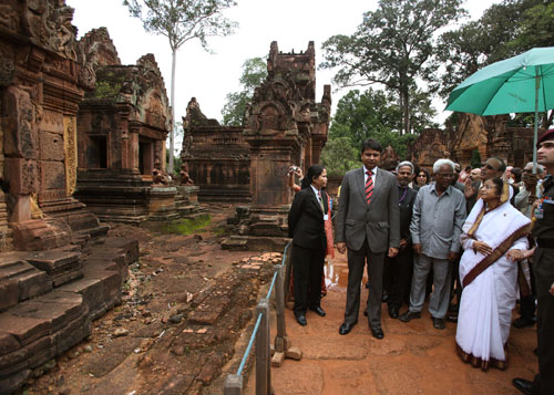 India and Cambodia: The President of India, Smt. Pratibha Devisingh Patil at Banteay Srey, the Citadel of Women.