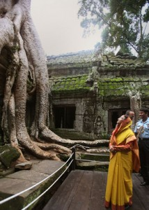 India and Cambodia:The President of India, Smt. Pratibha Devisingh Patil at Ta Prohm Temple in Siem Reap, Cambodia.