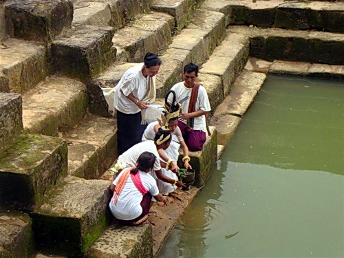 Gathering Lustral Water at Preah Vihear temple's sacred pond Srea Meas.