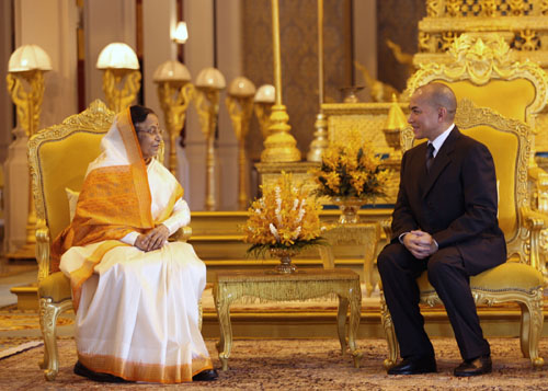 The President of India, Smt. Pratibha Devisingh Patil and the King of Cambodia, H.M. Norodom Sihamoni meeting at the Royal Palace on September 14, 2010 during this important reunion of India and Cambodia.