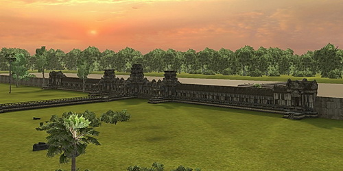 Angkor Wat 3D West Gopura (Gate) viewed from the north in Vizerra's model.