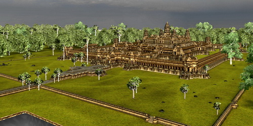 Angkor Wat 3D in Vizerra model, viewed from Southwest.