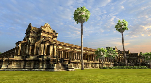 The Northwest corner of Angkor Wat 3D in Vizerra's model.
