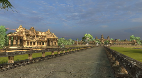 Angkor Wat 3D causeway facing east, with a library structure on the left.