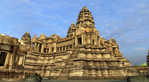 Vizerra's Angkor Wat 3D model includes devata (sacred female) images. The technology will soon allow links to location specific data and high resolution photos.