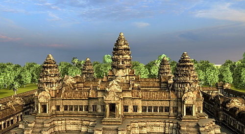 Angkor Wat central towers in Vizerra 3D model