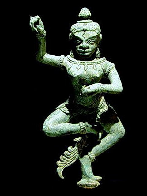 The Khmer Tantric Yogini dancer has distinctly foreign features.