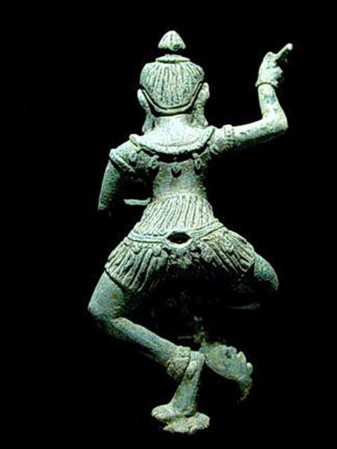 Rear view of Khmer Tantric yogini bronze showing sampot chang kben.
