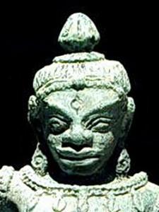 Detail of Tantric yogini dancer with third eye marking.