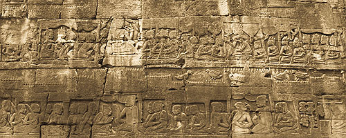 Education in Bayon bas-relief. In the top register, the two queens lecture before crowds of girls and boys. The lower register depicts military arts training. Men are briefed in the classrooms.