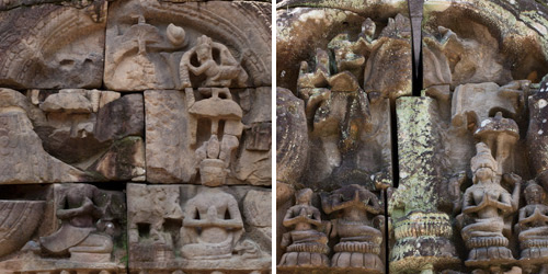On the left was a restored pediment showed traces of a standing Prajnaparamita, who the defaced royals worshiped. On the right, a pediment is now missing Prajnaparamita.