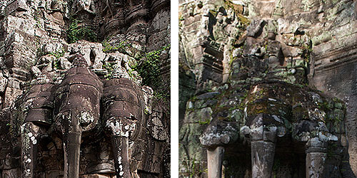 Elephants wearing conic crowns remain below the defaced royal trio.