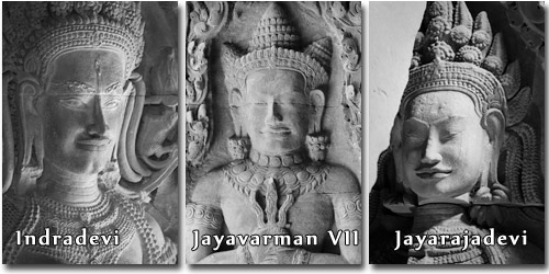 Queen Iindradevi, King Jayavarman VII and Queen Jayarajadevi.